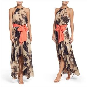 Eliza J Belted Chiffon Floral Print Maxi Dress